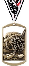 Hockey Dog Tag Medal with Free Neck Ribbon