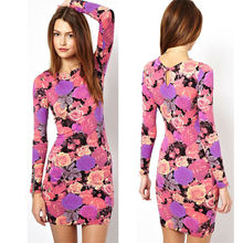 2014 latest dress designs pictures pink color long sleeves rose printed mini length china supplier OEM