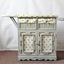 Wooden folding ironing board with cabinet