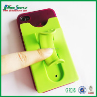 Silicone mobile card holder strong tape sticker phone stand smart wallet for Visa