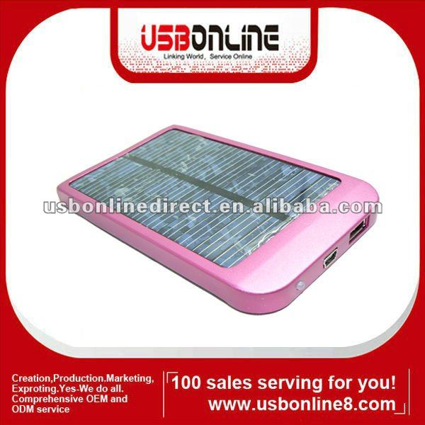 Portable Mobile Solar charger for Mobile phone 2600 mAh Blue Silver Pink