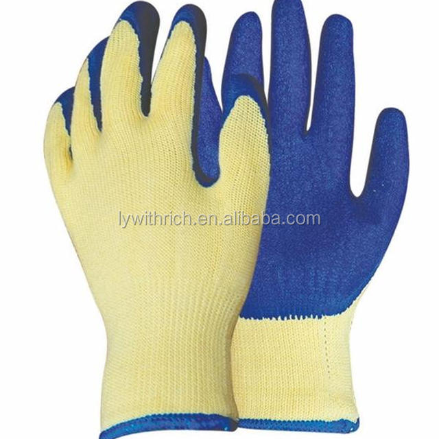 10G high grade knitted cotton liner latex goated crinkle finish working safety hand gloves en388