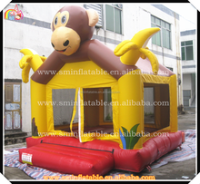 Funny inflatable monkey bouncer castle,animal bouncy,banana jumping house for kids