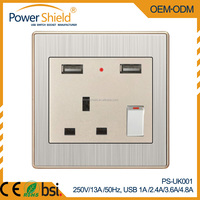 UK European Brushed Silver And metal Chrome Twins 2 USB power Wall Schuko Socket Outlet CE BS1363