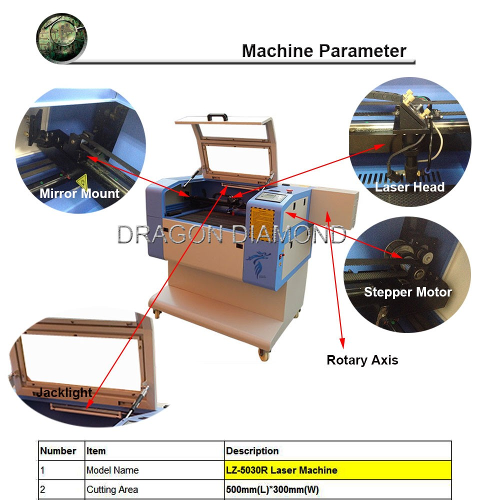 wood laser engraving machine/rubber stamp laser engraving machine LZ-5030