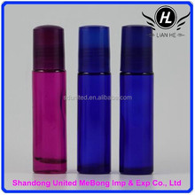 Wholesale 10ml blue/purple glass roll on bottle with blue/black cap