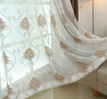 Polyester Voile Daily Style White Wire Geometrical Embroidery Eyelets Curtain