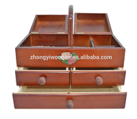 Trade assurance customized cheap unfinished folding wooden sewing box for sale