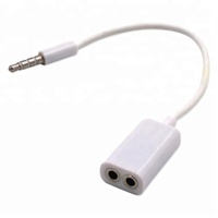 Stereo 3.5mm 1 male to 2 female audio cable headphone headset splitter cable