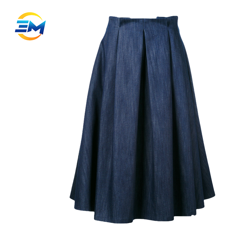OEM draped high waist concealed back zip umbrella pleated women long denim skirts