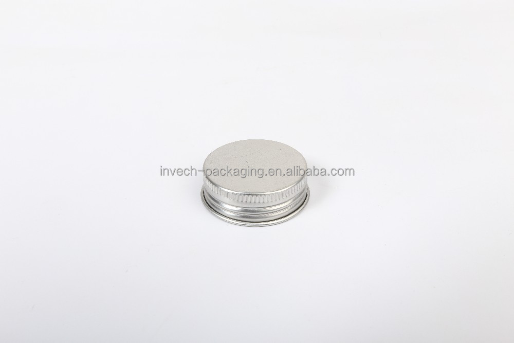 38/400 silver aluminum screw caps for cosmetic cream jars,brushed metal thread caps