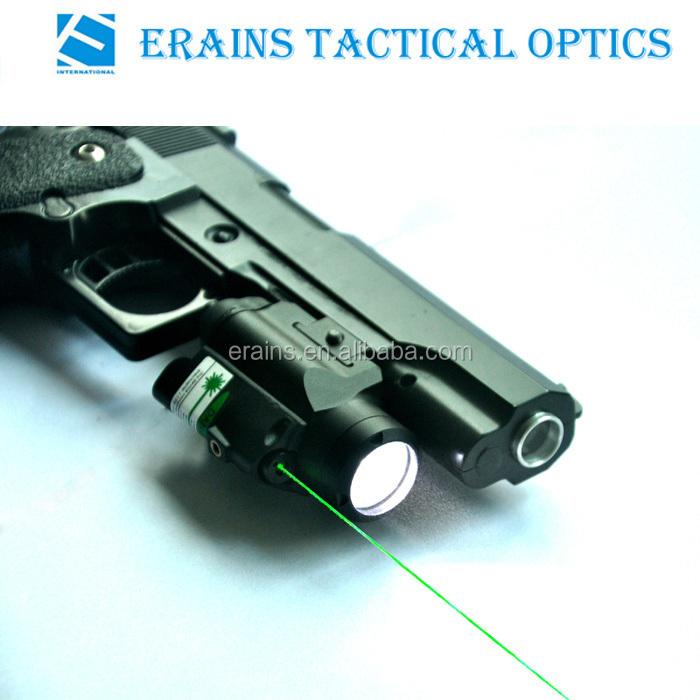 Compact Glock Pistol and Full Size Handgun Fittable Subzero Work Aluminium Tactical 220 Lumens LED Light with Green Laser Sight