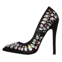 New Fashion Satin Crystal Stiletto High Heels Dress Shoes for Women