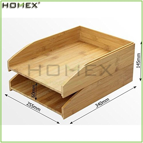 Stackable Bamboo File Organizer/File Storage Holder Tray/Homex_FSC/BSCI Factory