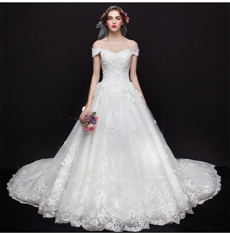 2017 Goddess Exquisite China Off Shoulder Wedding Dress Bridal Gown Long Train