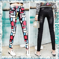 New Model Black Washed Colorful Pattern Printing Skinny Denim Jeans for Ladies