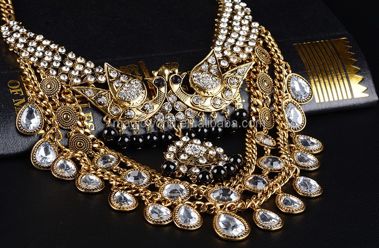 Popular Designer Crystal Gold Sexy Statement Necklace