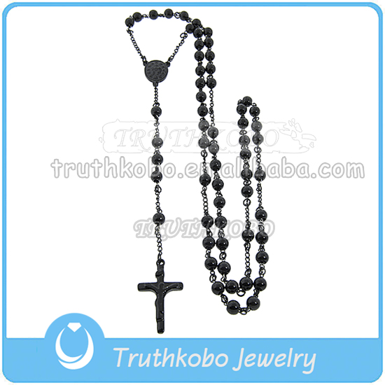 Wholesale Black Stainless Steel Christ Rosary Men's Jesus Prayer Rosary Necklace
