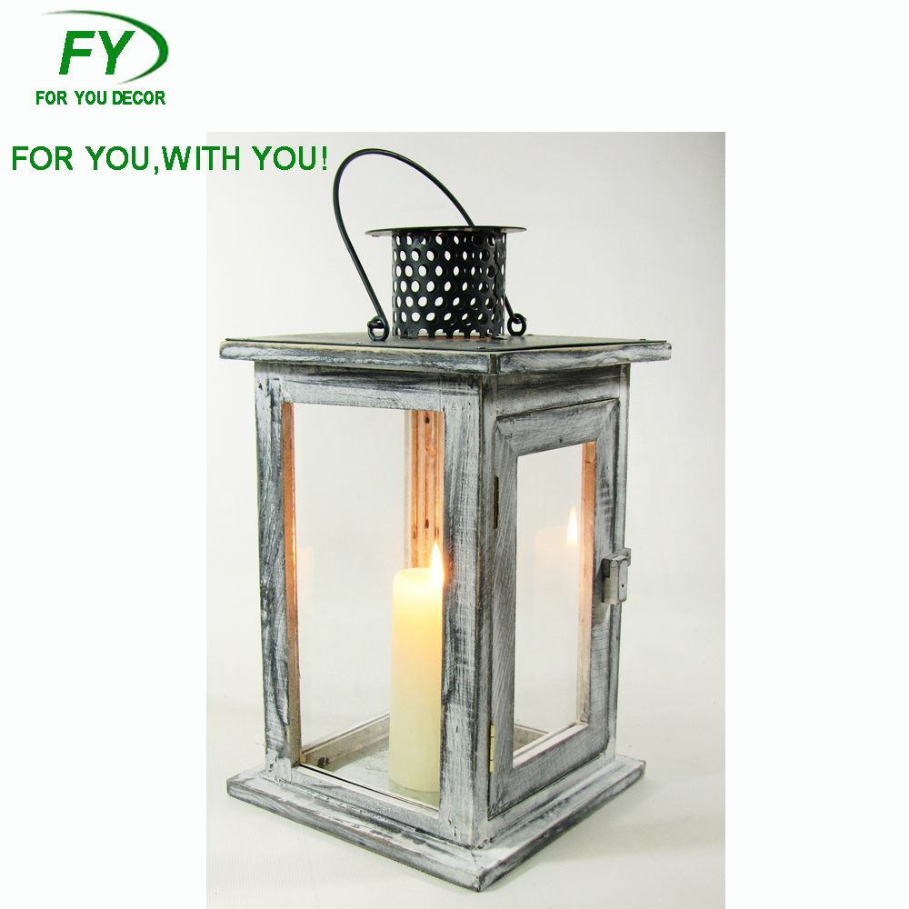 ML-298-31 Hanging wood lantern with metal top and handle