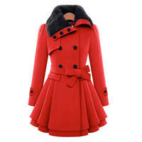 2016 Fashion Women Warm Red Trench Coat Lapel Double-Breasted Rabbit Fur Wool Long Ladies Winter Coats