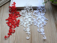 Handmade Long Crochet Lace Embroidery Flower Applique,Bridal Flower Patches For Wedding Veil