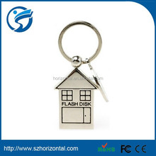 Vogue items Metal rectangle house Key ring USB flash disk