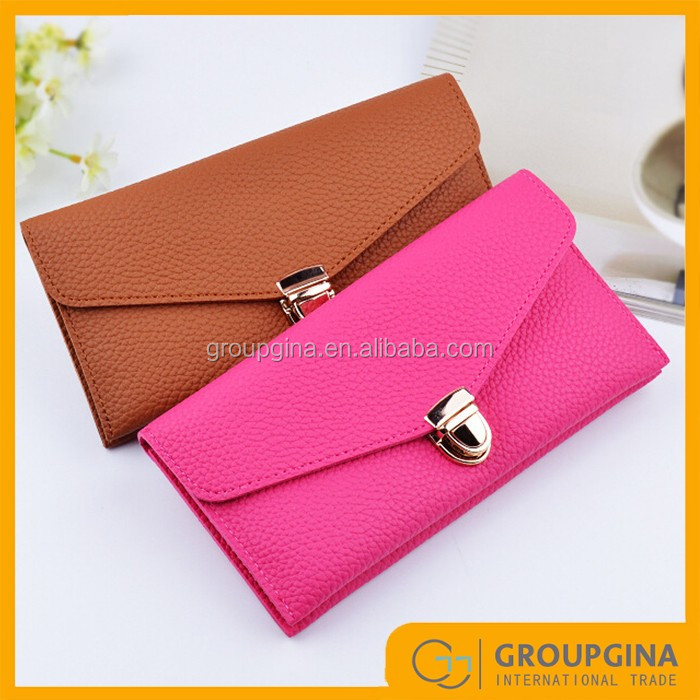 2017 New Monogrammed Leather Candy Color Women PU Wallet