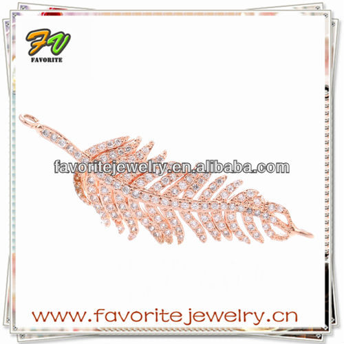 CZ micro pave cooper gold plated leaf jewelry
