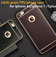 2016 electroplating Litchi Grain Painting Soft TPU Back Cover Case For iPhone 5s SE 6s 6sPlus Phone Bag case cell phone