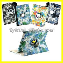 wash painting desgin 360 degree rotating case stand for ipad 4 ipad 3 ipad 2 leather material smart cover with magnetic
