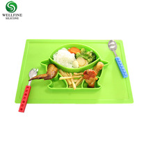 BPA Free, Heat-Resistant and Soft Baby Feeding Mat Silicone Baby Suction <strong>Plate</strong> with Placemat For Babies Toddlers and Kids