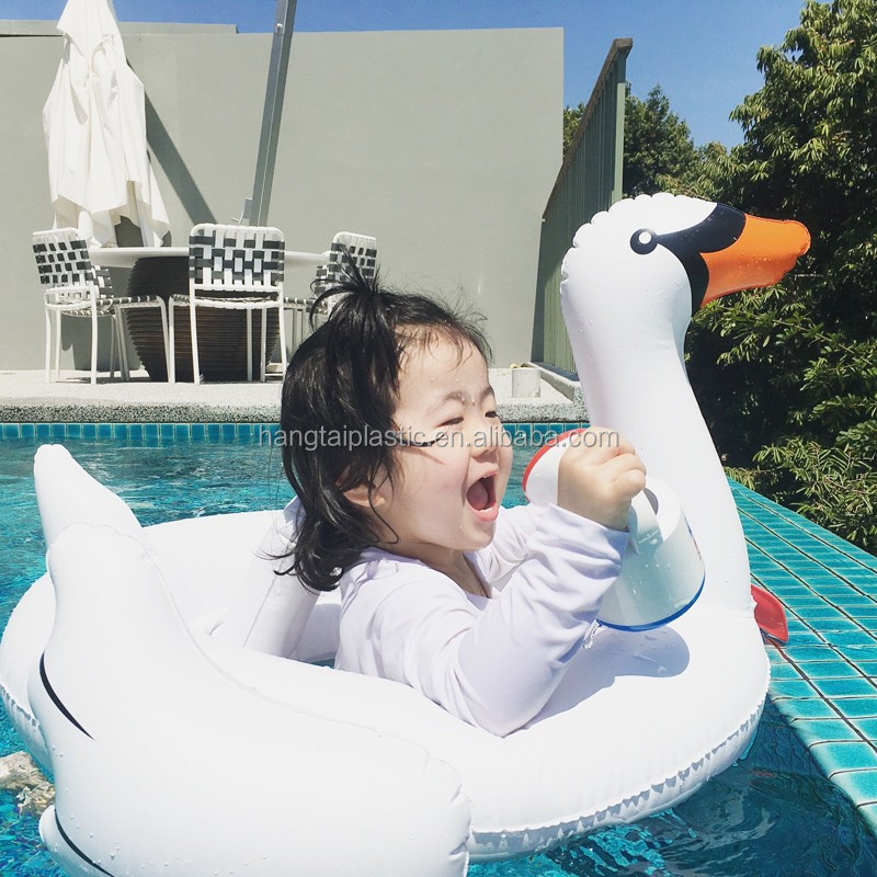 Baby Pool Float Swim Ring Inflatable Pool Toys - White Swan
