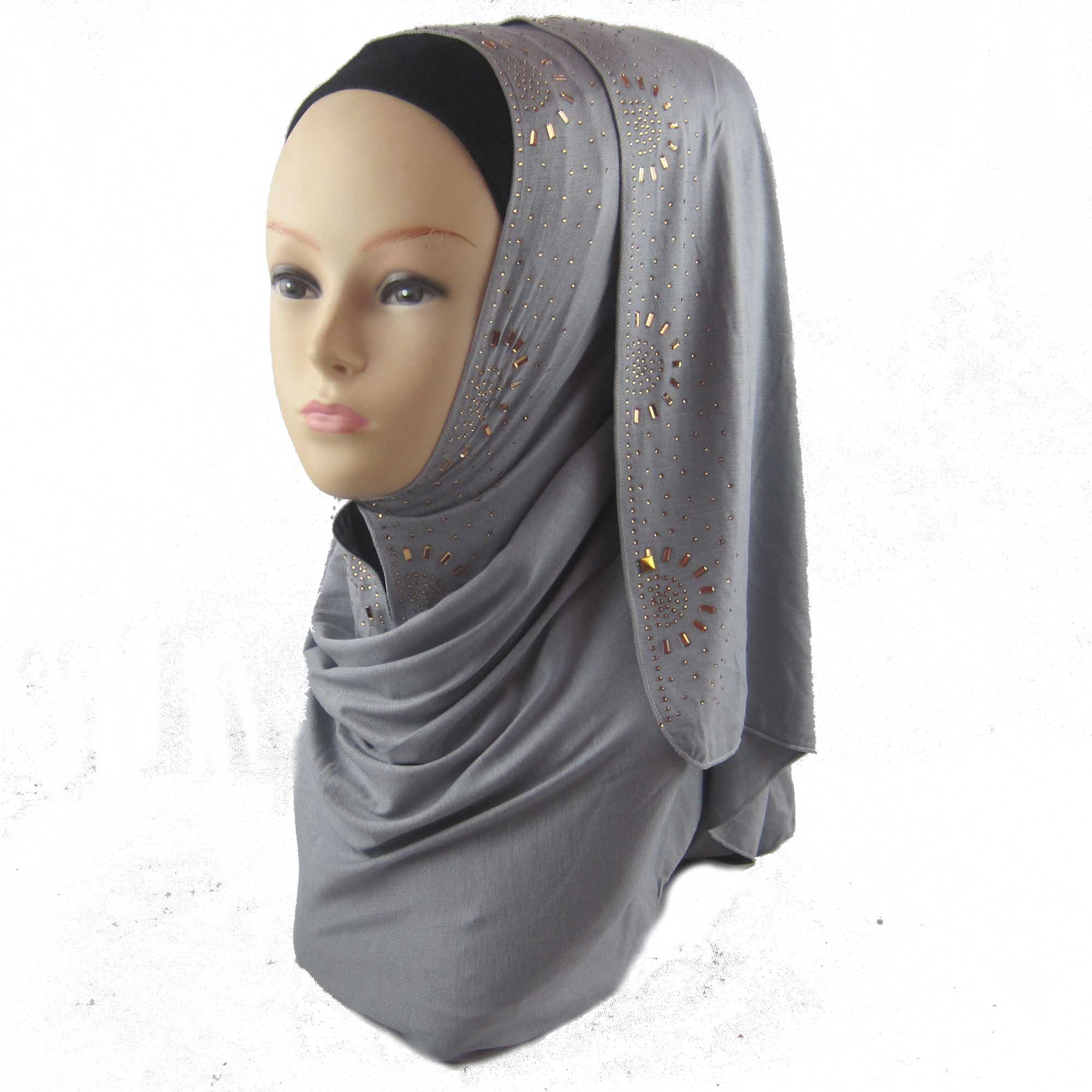 muslim popular plain turkish gold color half sun rhinestones jersey coton hijab