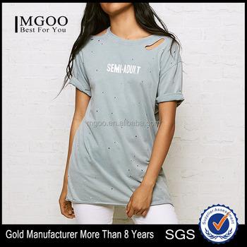 MGOO Custom Logo Round Neck Short Sleeve Women T Shirt Artful Custom T-shirt With Holes