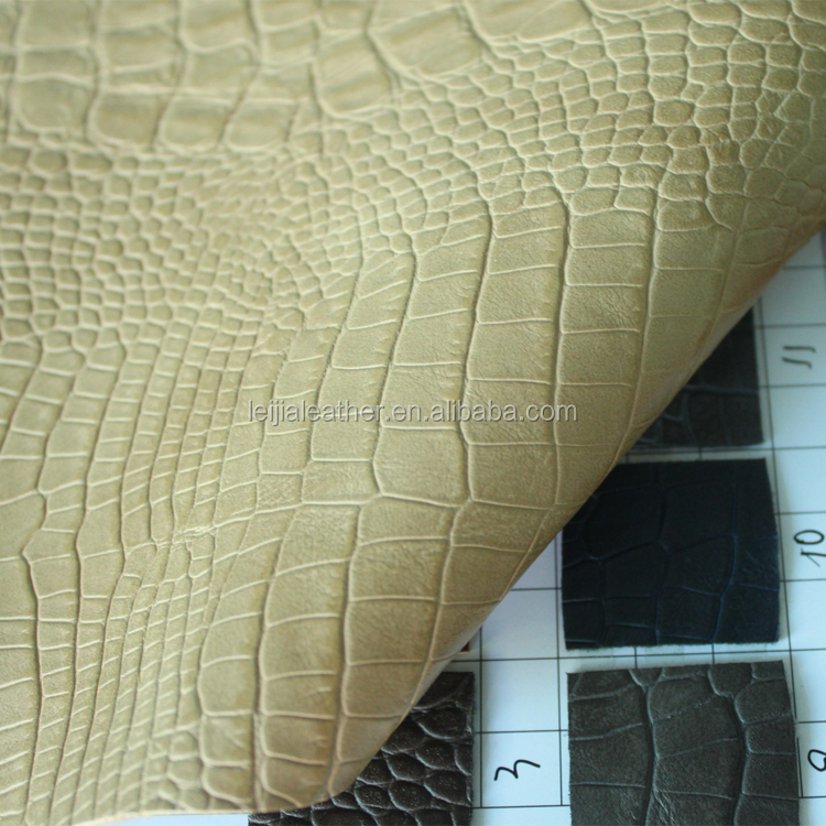 crocodile skin embossed pu synthetic leather fabric for making wallet and shoes