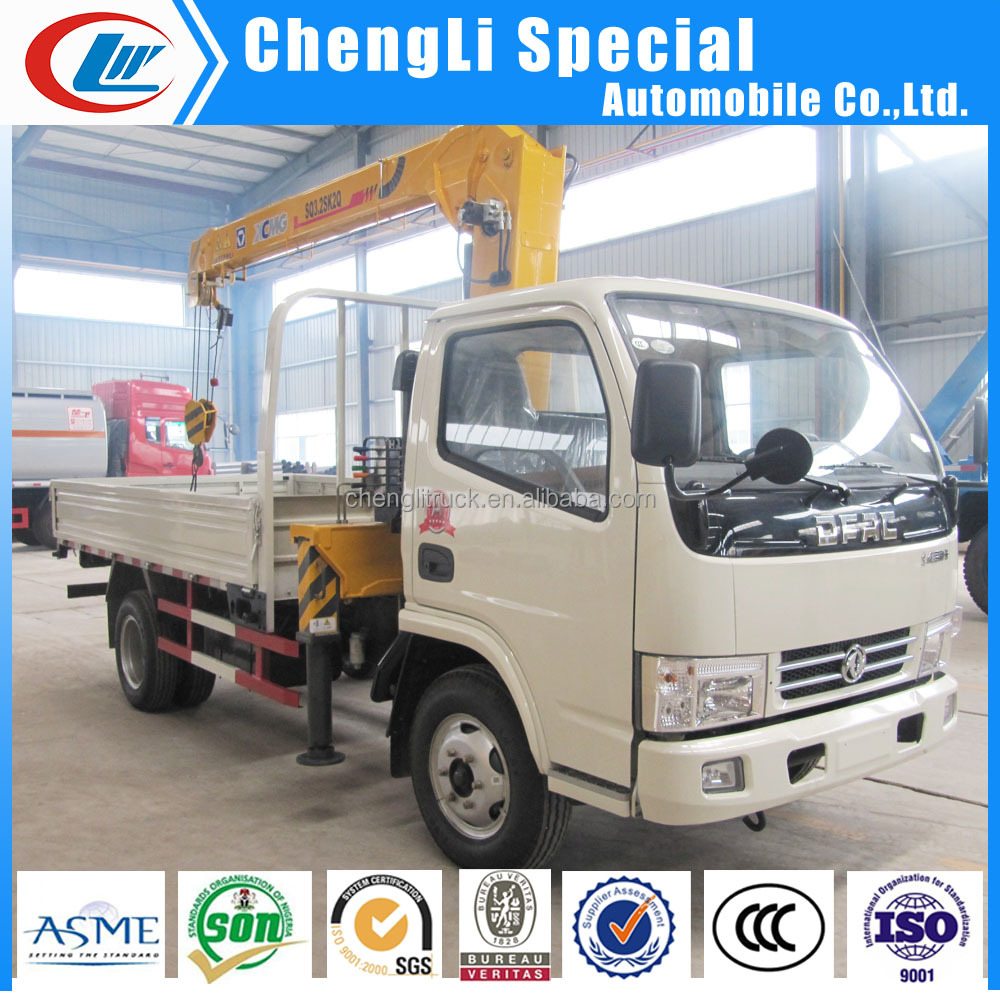 China low price Dongfeng 4x2 Light Duty Truck With Crane 1 ton 2 tons 3 tons for sale