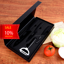 4pcs black ceramic knife set with peeler in EVA gift box