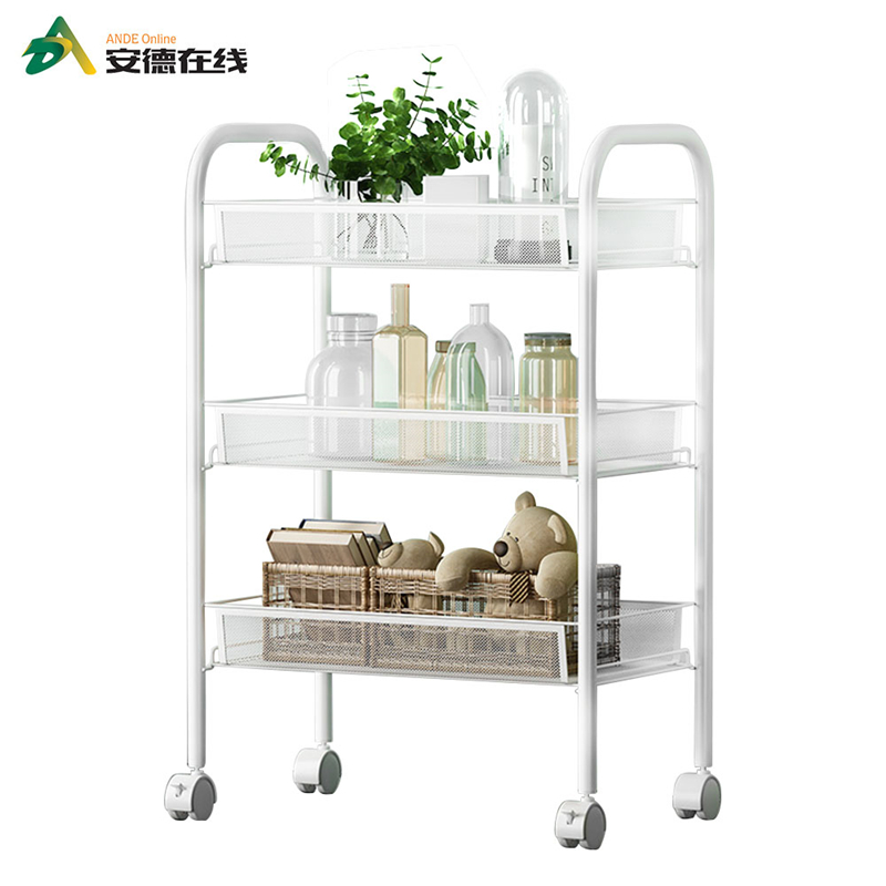 3-Layer Home Toy Shoe Cabinet Metal Kitchen Shelf Sundries Storage Rack