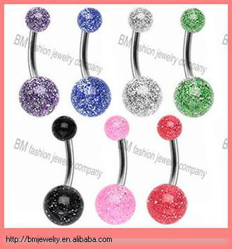 UV glitter balls cheap nickel free belly button ring piercing body jewelry