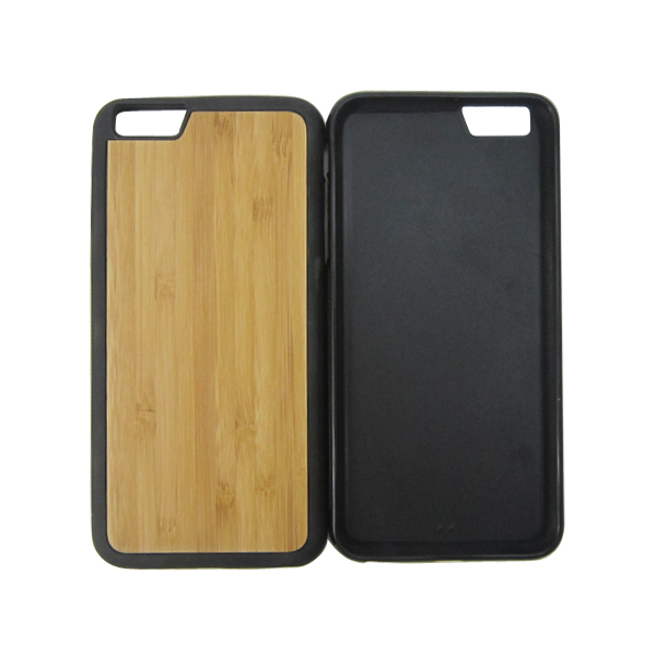 TPU wooden trapezoidal hole camera phone case for Iphone6,wood phone case