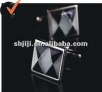 2012 Hot Sell Black White Grid Shell Cufflinks