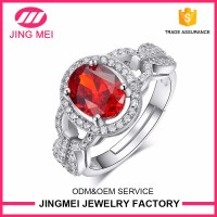 Jingmei factory directly sale mens Ruby stone rings one stone ring designs