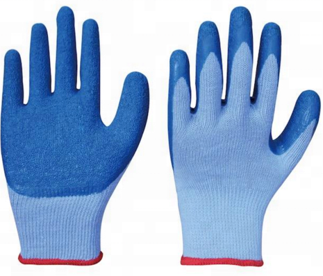 5 Threads Yellow/Blue Poly Cotton Liner Latex Coated Protective Safety Work <strong>Gloves</strong>