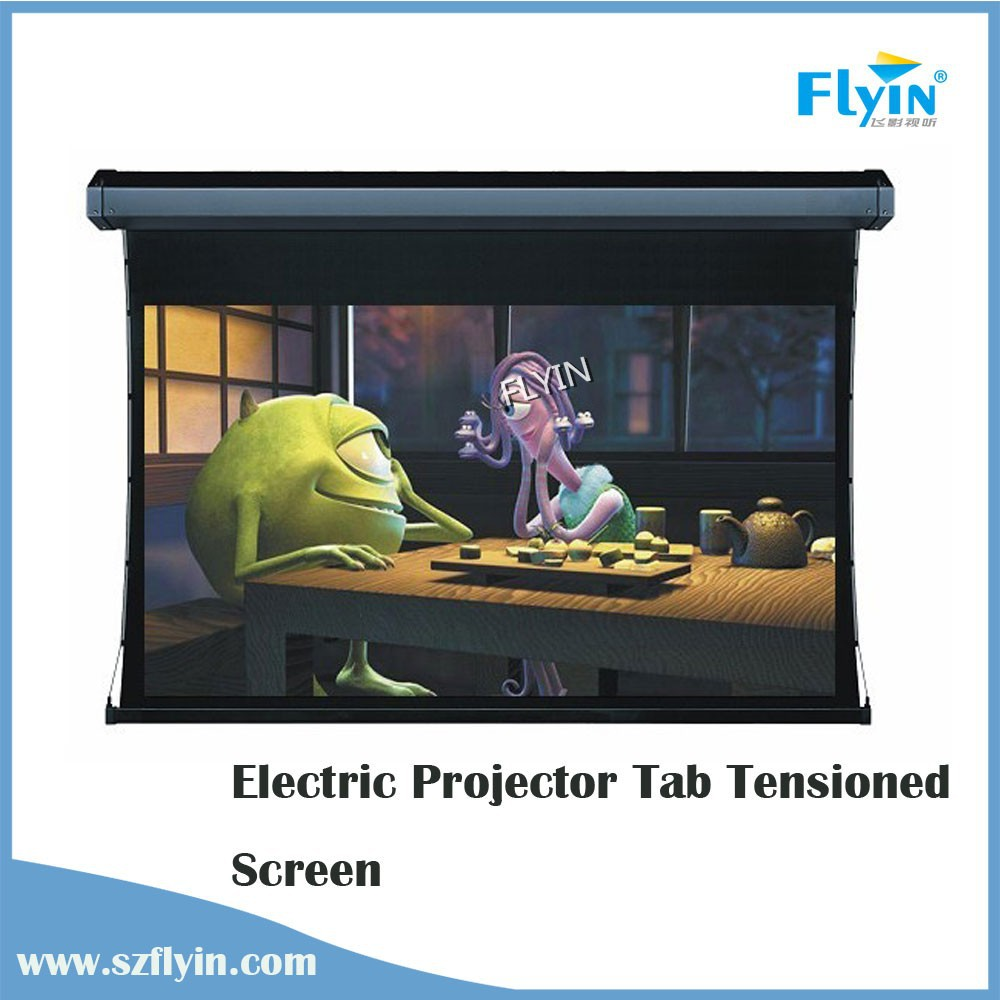 200 electric projector screen tab tensioned with 3d for Tab tensioned motorized projection screen