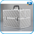 silver Aluminum Makeup Train Case with four trays Cosmetic Organizer