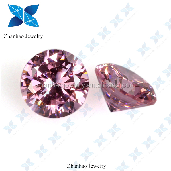 factory price synthetic loose diamond cut round pink cubic zirconia stone