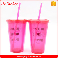 450ml Disposable BPA Free Double Wall Joyshaker Plastic Drink Bottle With Straw Pink Lid Paper Insert Plastic Cup