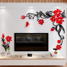 Acrylic 3D Flower Wall mirror Stickers home decor creative wall decals living room entrance painting flowers For Room DIY