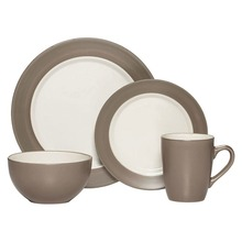 Caffeine handmade Royal Classic white and taupe 47pcs prestige porcelain dinner set