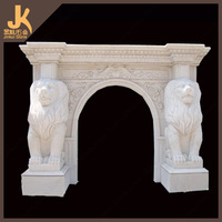 white marble lion fireplace mantel
